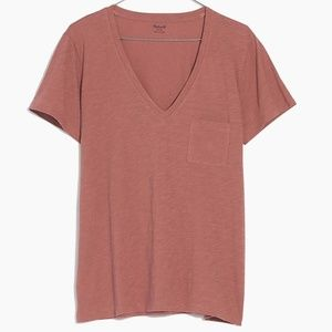 Madewell V Neck Whisper Cotton Tee Coral